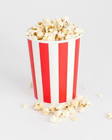 Store rød og hvid stribede popcornbægre