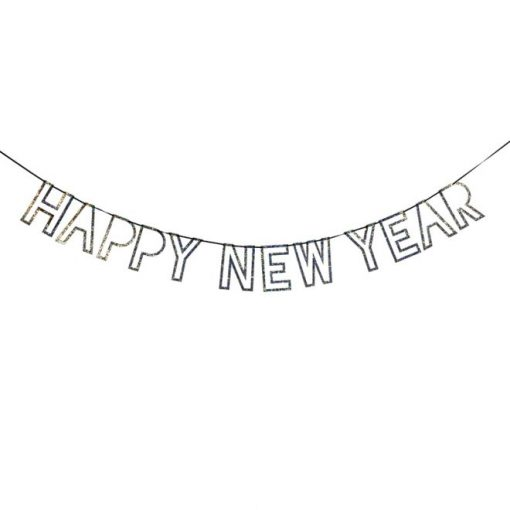 HAPPY NEW YEAR sølv og glimmer guirlande - Nytårs guirlande
