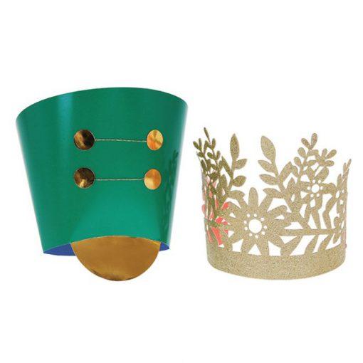 Nøddeknækker jule hatte - guldkrone og soldaterhat fra Meri Meri