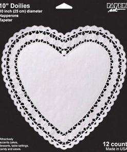 Store hjerte kageservietter 25 cm i hvid.