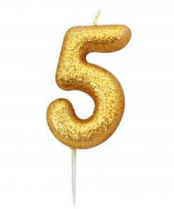 Guld glitter lys 5 år-0