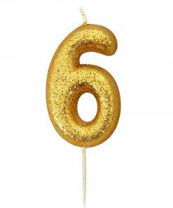 Guld glitter lys 6 år-0