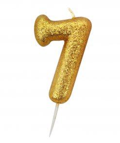 Guld glitter lys 7 år-0