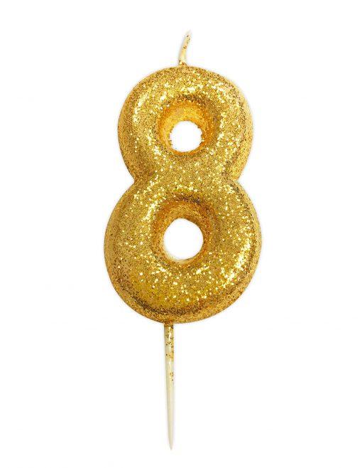 Guld glitter lys 8 år-0