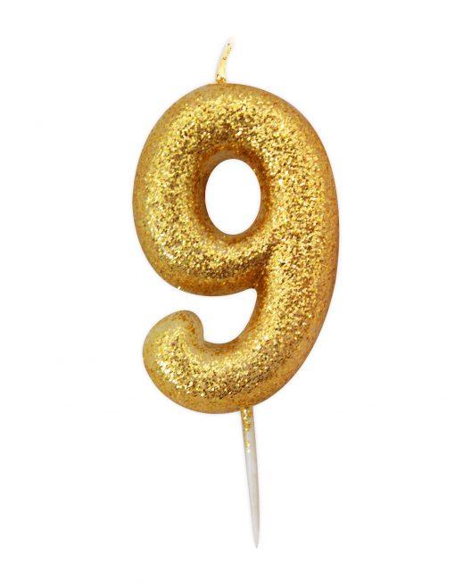 Guld glitter lys 9 år-0