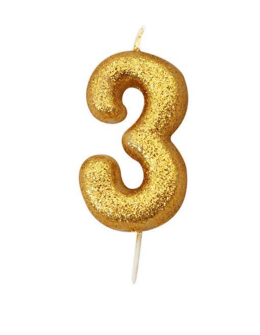 Guld glitter lys 3 år-0