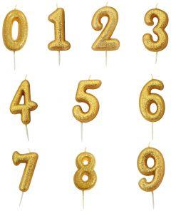 Guld glitter lys 5 år-3474