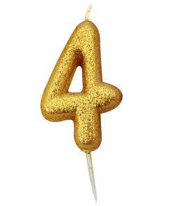 Guld glitter lys 4 år-0