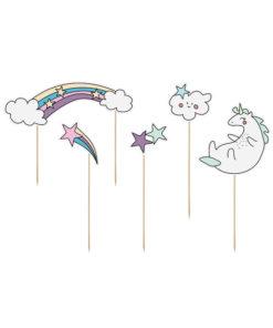 Kagetoppere med enhjørninge og regnbuer
