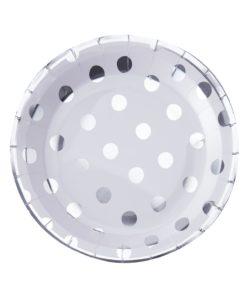 Paptallerkener med sølv polka prikker