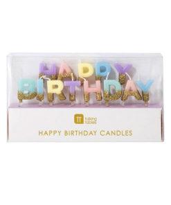 Pastelfarvede Happy Birthday lys med guld glimmer