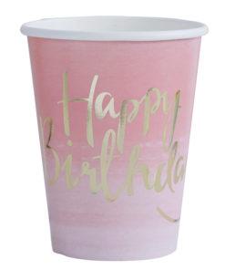 Ombre lyserøde fødselsdagskrus med guld tryk
