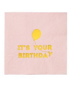 Lyserøde fødselsdagsservietter med guld folie