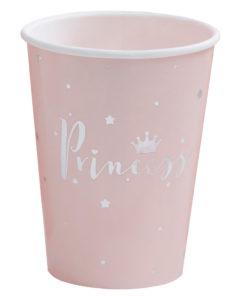 Lyserøde prinsesse papkrus med sølv detaljer
