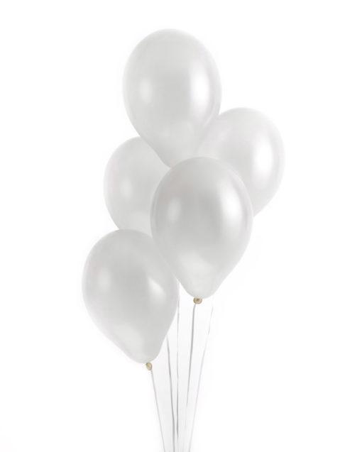 Hvide metallic balloner