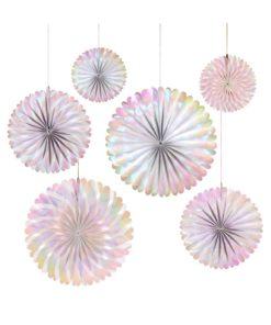 Hvide pinwheel vifter med perlemors folie