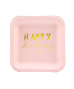 Små lyserøde Happy Birthday tallerkener