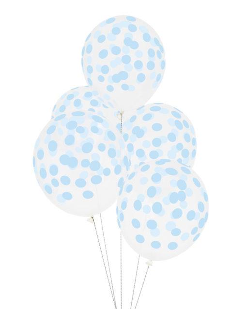 Balloner med Lyseblå konfetti print