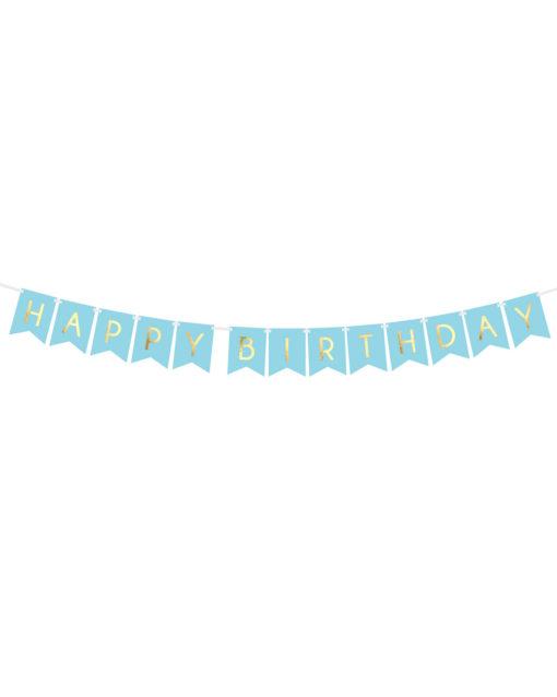 Lyseblå fødselsdagsguirlande med guld tryk