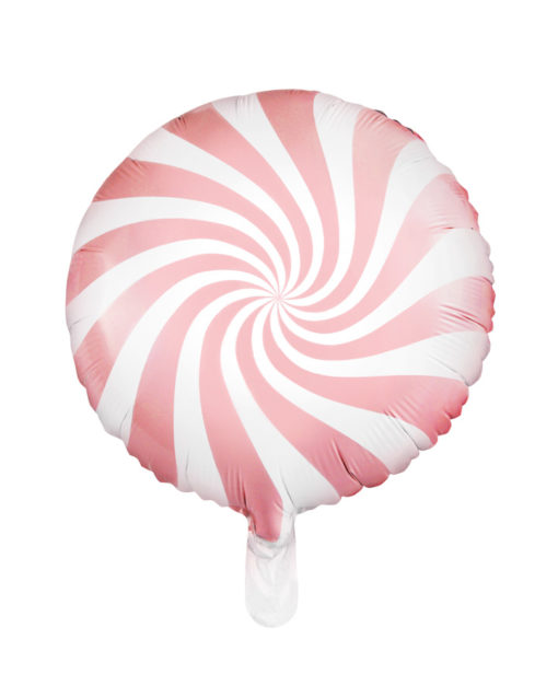 Lyserød bolche stribet folie ballon