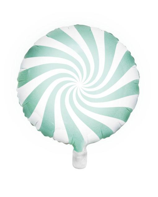 Mintfarvet slik ballon med striber