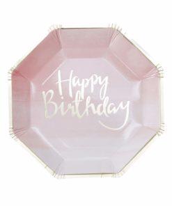 Ombre lyserøde fødselsdagstallerkener med guld tryk