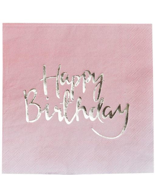 Ombre lyserøde fødselsdagsservietter med guld tryk