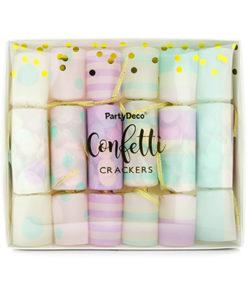 Pastelfarvede knallerter med konfetti
