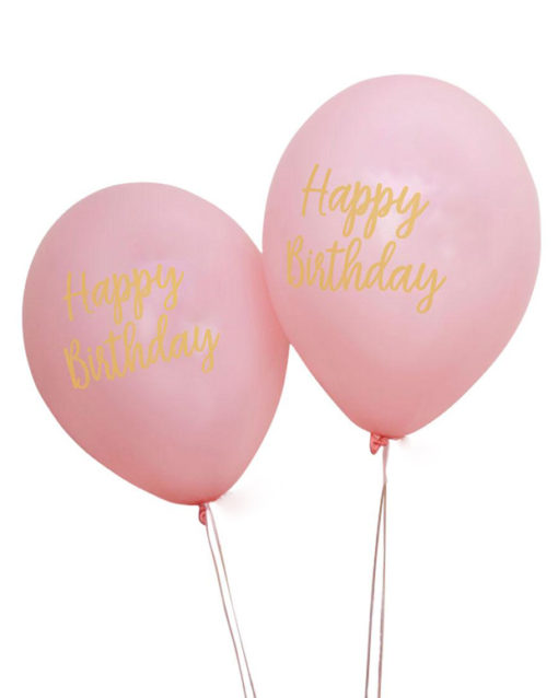 """Lyserøde balloner med guld """"Happy Birthday"""" skrift"""