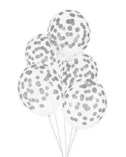 Balloner med sølv konfetti print