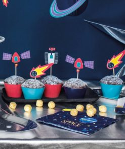 Space Party cupcake kit til 6 cupcakes