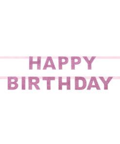 Lyserød glitter fødselsdagsguirlande