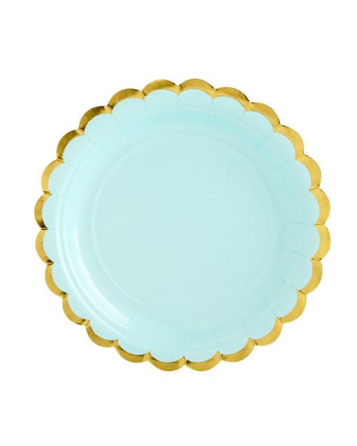 Mintfarvede tallerkener med guld kant