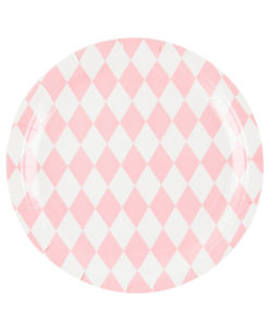 Lyserøde harlekin tallerkener