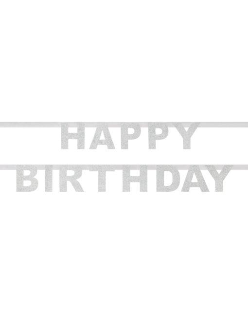 Sølv glitter fødselsdagsguirlande