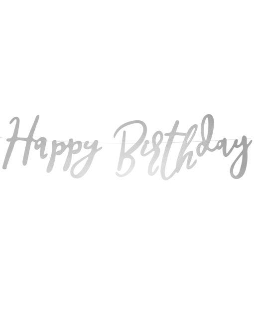 Sølv script fødselsdagsguirlande
