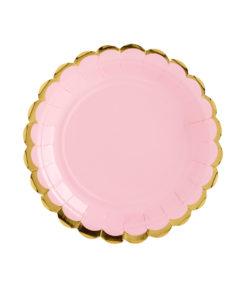 Lyserød tallerken med guld kant