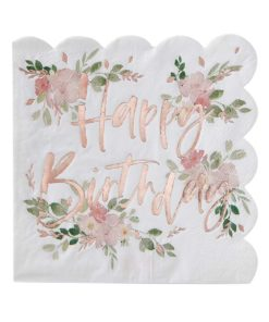 Fødselsdagsservietter med blomster