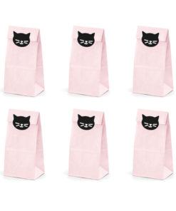 lyserøde slikposer med katte klistermærker
