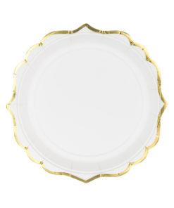 Hvide tallerkener med guld kant - porcelæns look