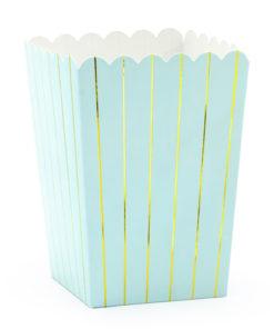 Små popcornbægre - lyseblå med guld striber