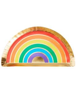 Regnbue tallerkener med guld