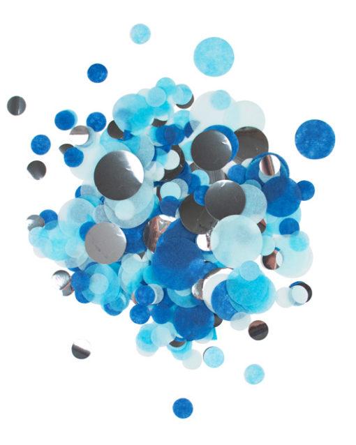 Sølv, blå og lyseblå konfetti mix