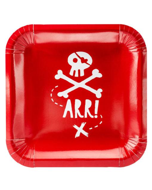 Røde pirat paptallerkener