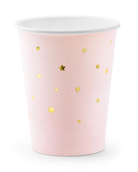 Lyserøde papkrus med guld stjerner