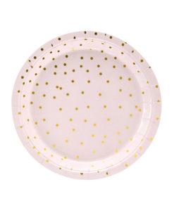Lyserøde tallerkener med guld prikker