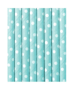 Lyseblå papirsugerør med hvide prikker