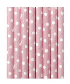 Lyserøde papirsugerør med hvide prikker