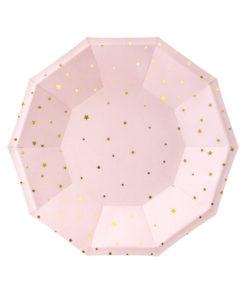 Lyserøde paptallerkener med guld stjerner