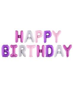 Pastelfarvet mat fødselsdags ballonguirlande
